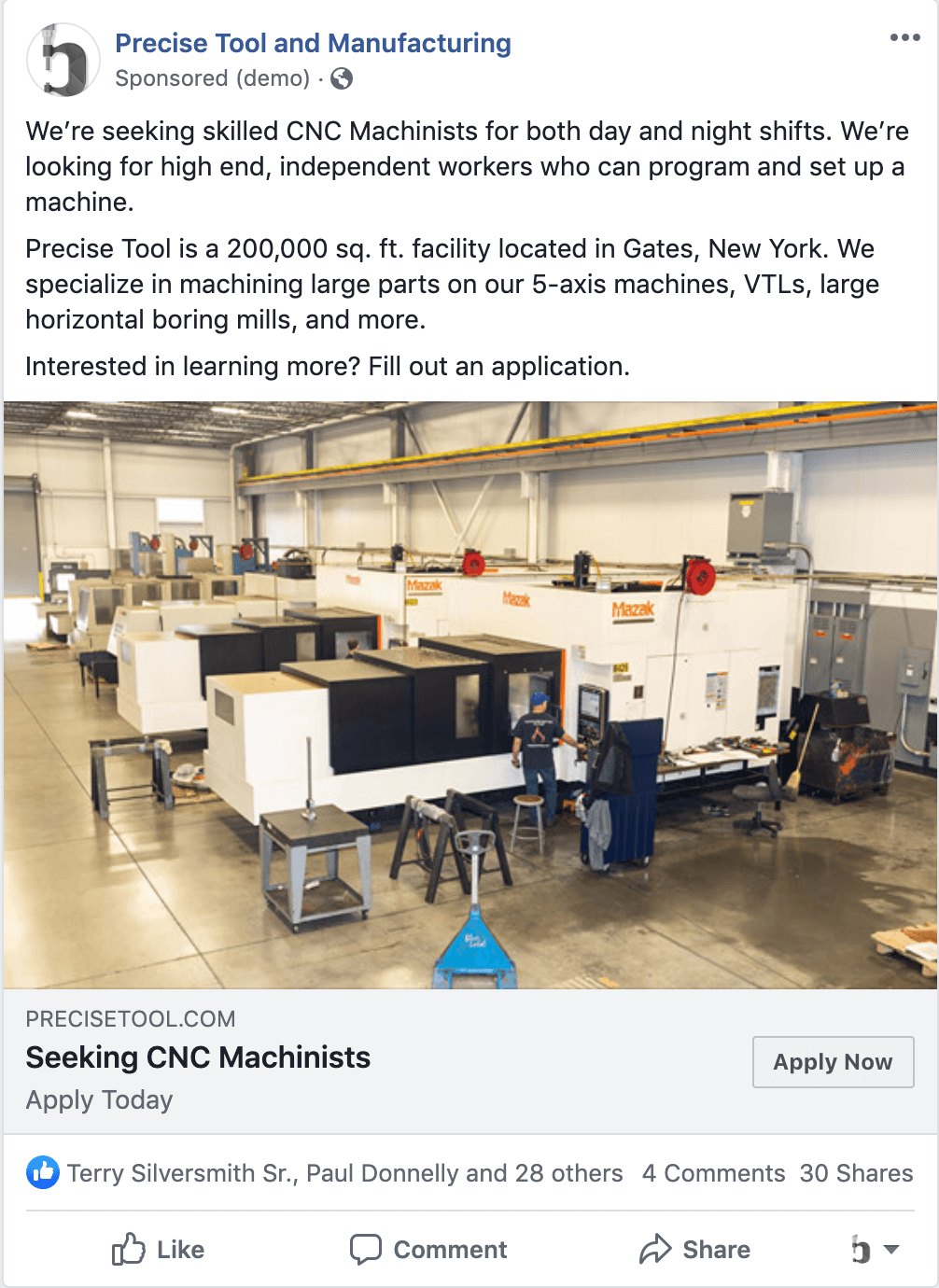 CNC Machinist Job Post Facebook
