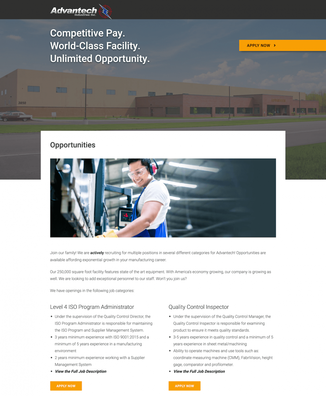Manufacturer Job Page Example