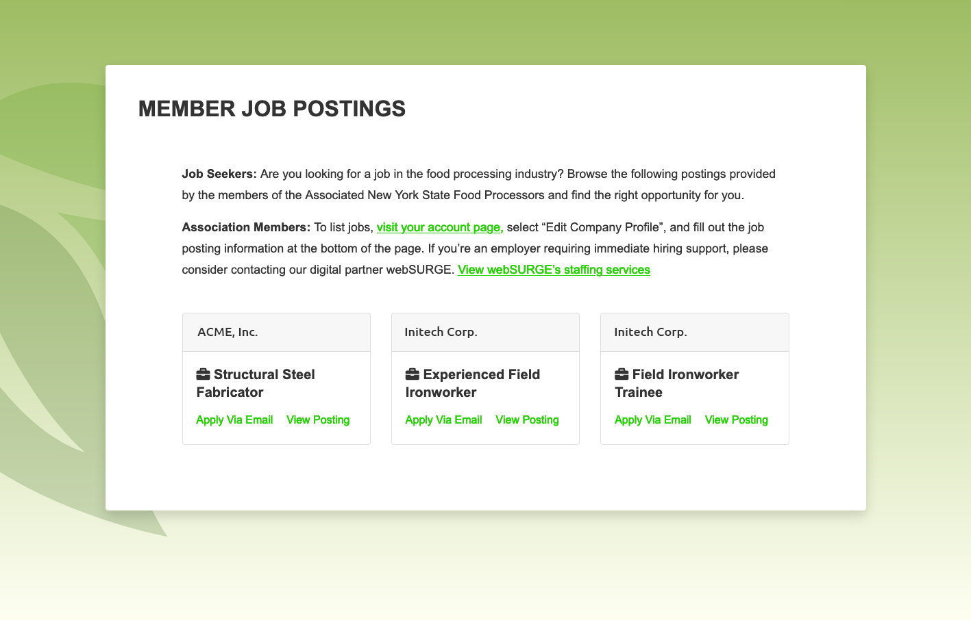 Member Job Board